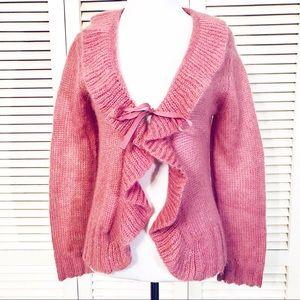 Caslon | Ruffle Tie Front Sweet Blush Cardigan